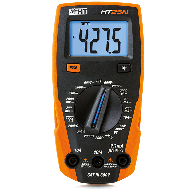Compact digital multimeter, with DC current measurement up to 10A
