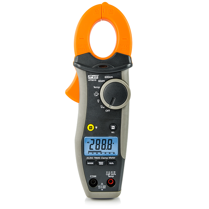 AC/DC TRMS 600A CAT IV clamp meter with temperature measurement